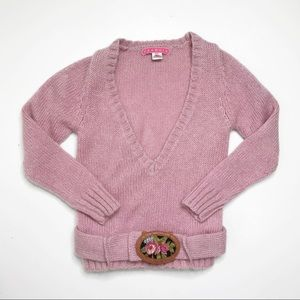 Anthro Manoush Rose Pink Belted Mohair Sweater Top